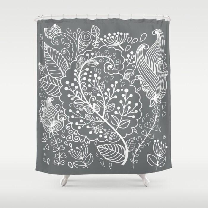 Description Gray White Floral Shower Curtain