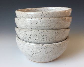 Soup bowls, set of 4, speckled white pottery, handmade pottery, handmade ceramics, made to order