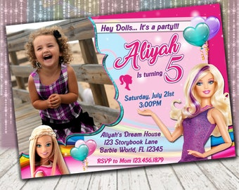 Barbie Birthday Party Invitations | Barbie photo invitation | Barbie Invitation | Barbie Birthday | Personalized Printable Digital File