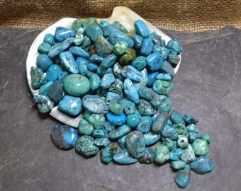 500g Old Tibetan Turquoise Beads - Natural Nugget Shapes & Colours, Spiderweb, 1-2mm Drill Holes, Necklace, Beading, FREE UK SHIPPING (3108)