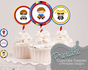 Super Hero Cupcake Toppers - SuperHero Party Circles - 2 inch round labels - Spiderman Superman Batman Batgir Supergirl - INSTANT DOWNLOAD