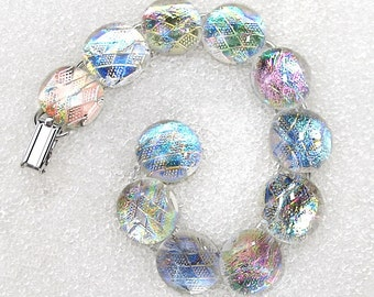 Bracelet, Dichroic Glass Bracelet in Soft  Shimmering Fruit Basket Colors, Fused Glass