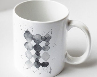 Geometric black and white mug, Graphic mug, Watercolor mug, Ceramic coffee mug, Tea mug, Gift for friend, Watercolor abstract mug