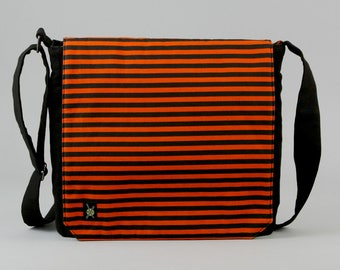 READY TO SHIP Orange and Black Stripe Medium Size Canvas Messenger Bag, with Purple Pockets, Zipper iPad Tablet Phone Pockets, Ready To Ship