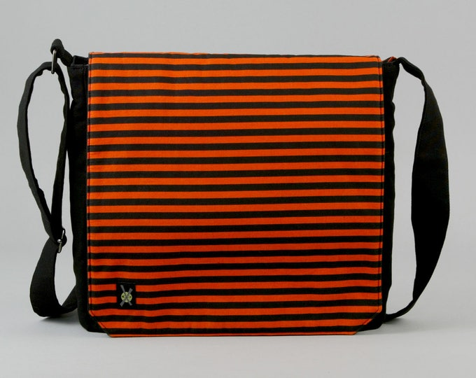 READY TO SHIP Orange and Black Stripe Medium Size Canvas Messenger Bag, with Purple Pockets, Zipper iPad Tablet Phone Pockets, Ready To Ship