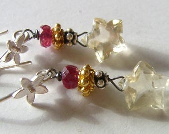 Earrings, scapolite, Scapolite, Red, spinel, Spinel