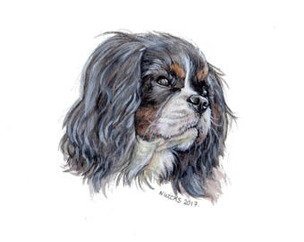 Original Cavalier King Charles Spaniel Painting, Watercolours