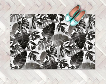 Tropical Leaves Rug / Tropical Decor Kitchen Rug / Black and White Modern Rug / Plants Kitchen Carpet / Decorative Floor Rug / Linoleum Rug