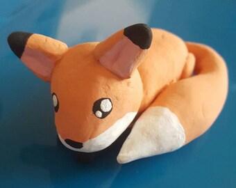 Cute fox figurine, fox figurine, clay model, sleeping fox, fox collectable