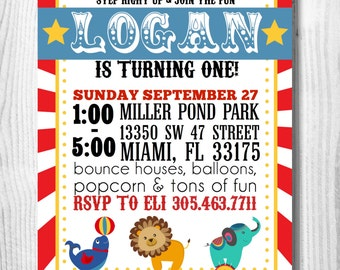 Circus/ Carnival Themed Birthday Invitation- Digital File/ Custom Invitation/ Circus/ Carnival Party/ First Birthday/ Childrens Party