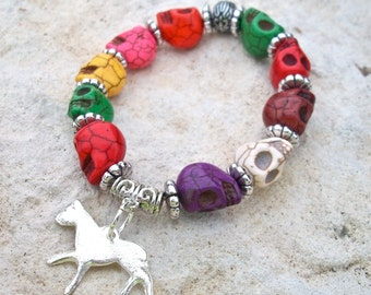 Skull Bracelet Bright Multi Colored Howlite with Milagro Charm Dangle Stretch Bracelet Day of the Dead