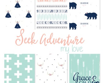 Design Your Own -Seek Adventure My Love // changing pad cover, rail covers, boppy covers, sheet,  skirt // Bears + Teepee + Antlers + Arrow