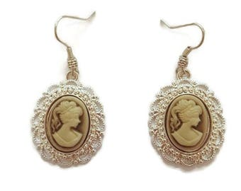 Vintage Cameo Earrings - Cameo Earrings - Cameo Dangle Earrings - Vintage Dangle Earrings - Silver Dangle Earrings - Vintage Silver Earrings