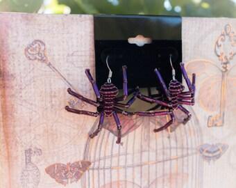 Purple Beaded Spider Earrings