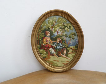 Pretty Vintage Oval Needlepoint Embroidered Tapestry Picture - Romantic Courting Couple, Landscape,framed,glazed