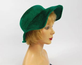 1950s Emerald Green Hat - Green Hat // Bright Green Wide Brim Scalloped Brim 50s 60s