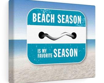 Beach Season is My Favorite Season beach badge canvas wrap beach bag   bathing suit towel sunscreen sunglasses flip flops summer vacation