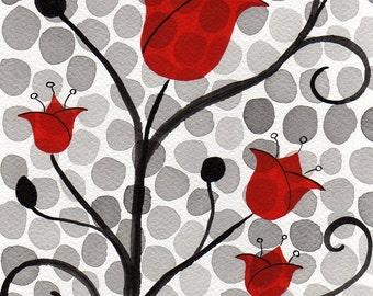 Watercolor Painting: Watercolor Flower Painting -- Art Print --  Red Polka-Dot Flowers -- Scandinavian Flowers -- 8x10