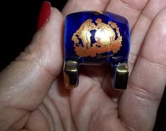 Limoges Miniature Barrel Mini Limoges Keg Cobalt Blue 22kt Gold Trim Doll House Limoges Mini Vintage Limoges Free Shipping