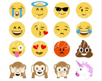 Emoji SVG, Emojis SVG, Poop Emoji Svg, Unicorn Emoji Svg, Monkey Emoji Svg, Eps, Svg, Files, Htv designs
