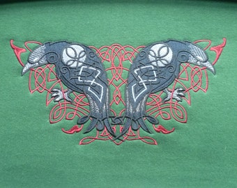 Knotwork Ravens Hoodie. Raves Sweater. Embroidered design Heavyweight or Premium Odin's Ravens. Hugin and Munin. Celtic knotwork