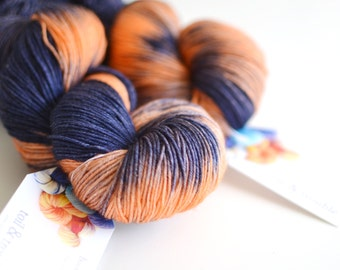 Hand Dyed Sock Fingering Yarn - Superwash Merino / Nylon 463 Yards - Space Cowboy - Navy Blue and Orange Creme