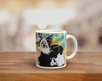 Coffee mug 11 oz, Graffiti art painting, Street art butterfly mug, Spray paint art, Pop art painting, Glossy ceramic tea mug, Kitchenware,