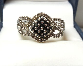 Vintage Black White Diamond Ring 925 Sterling Womens 7.5 Cocktail Christmas New year Gift Statement