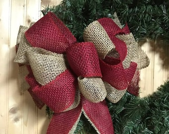 LARGE Natural Burlap and Red Burlap Bow, Christmas Bow, Winter Bow, Farmhouse Bow, Tree Topper