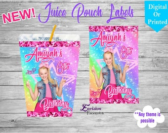 Jojo siwa Custom designed juice Labels|birthday|labels|juice pouch Label||Custom party favors|Personalized labels|YOU PRINT