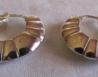 Sterling Silver Puffed Hoop Earrings
