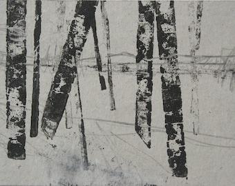 Monoprint, birch trees, forest, woodland, Original Art Postcard 83, fine art, graphite, pencil, landscape, Yorkshire, winter, black, grey