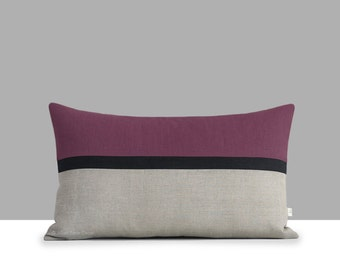 Purple Horizon Line Lumbar Pillow Cover with Black & Natural Linen Stripes by JillianReneDecor, Modern Home Decor, Plum Amethyst, Fall Decor
