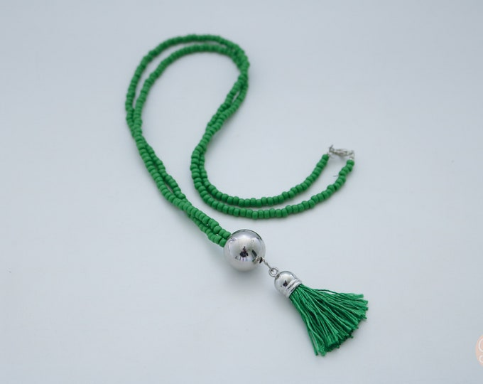 Beaded Grass Green Tassel Necklace.