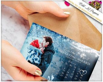 Winter Save the Date Postcard, Snowflake Save The Date, Winter Wedding Card,  PRINTABLE Digital File or Printed 4x6 Postcard, Deer Photo