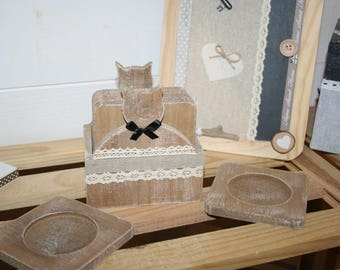wood coasters, white, light brown cat and white