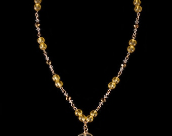 Yellow Clear Pendant Necklace