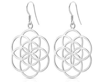 Silver Flower Earrings, Sterling Silver Earrings, Flower of Life Earrings, Silver Drop Earrings, Round Dangle Earrings, Mandala Earrings