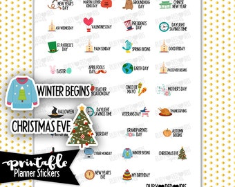 Holidays PRINTABLE Planner Stickers | Pdf, Jpg, Silhouette Studio V3 Format | ECLP Vertical Planner Stickers