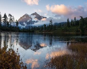 Fine Art Photo Print, Mt. Shuksan Picture Lake Sunrise Reflection, Washington North Cascades Pacific Northwest, Landscape Nature Photography