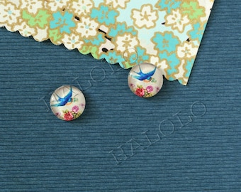 10pcs handmade blue bird with flower glass dome cabochons 12mm (12-0773)