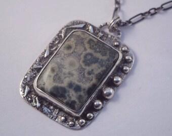 Handmade sterling silver pendant with Ocean Jasper