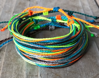 1 string bracelet, stackable bracelet, wax string, surfer bracelet, friendship bracelet, string bracelet, wax string bracelet - neon lover