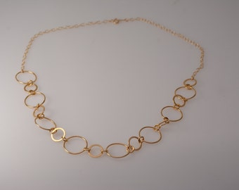 Gold circle link necklace. Gold circle link long necklace. Gold filled circle link necklace. Minimalist neckalce