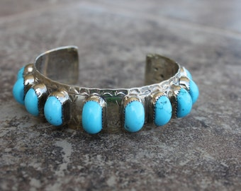 11 Turquoise Stone Cuff in Sterling Silver