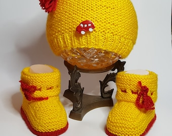 Baby boy hat and booties