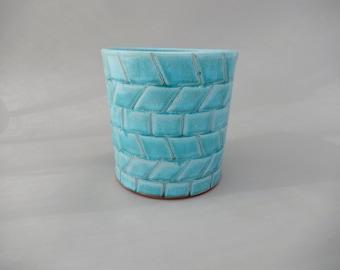 Ceramic Utensil Holder, Kitchen Organizer, Handmade Turquoise Glazed Pottery