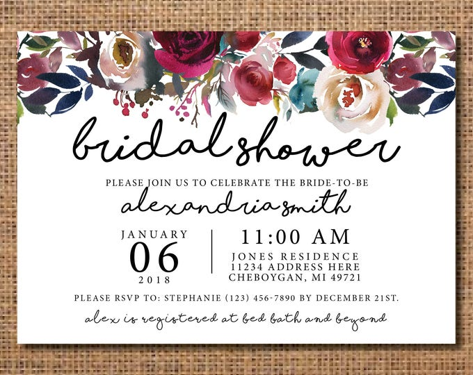 Invitations vintageleecrafted bridal shower invitation navy bridal shower invitation floral bridal shower invitation rustic bridal stopboris Image collections