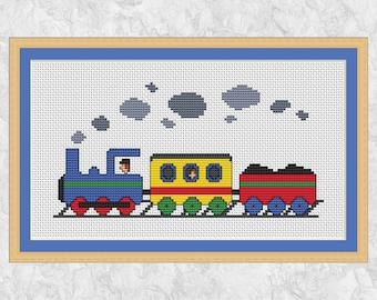 Steam train cross stitch pattern PDF, printable counted cross stitch chart, modern, boy, girl, locomotive, engine, vehicle, carriages