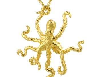 Golden Octopus Sculpture Pendant Necklace